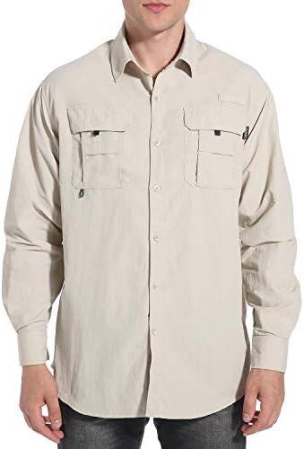 NOMINATE Mens Long Sleeve Fishing Shirts UPF 50+ UV Protection Sun Shirts Quick Drying Hiking Lightweight