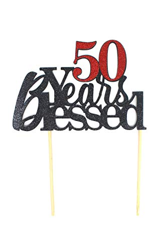 All About Details 50 Years Blessed Cake Topper, 1pc, 50th birthday, 50th anniversary, glitter topper, party decoration, photo props (Black & Red) -