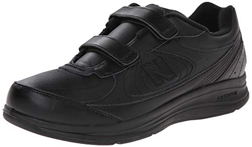 New Balance Men's MW577 Hook and Loop Walking Shoe,  Black, 11 XW US