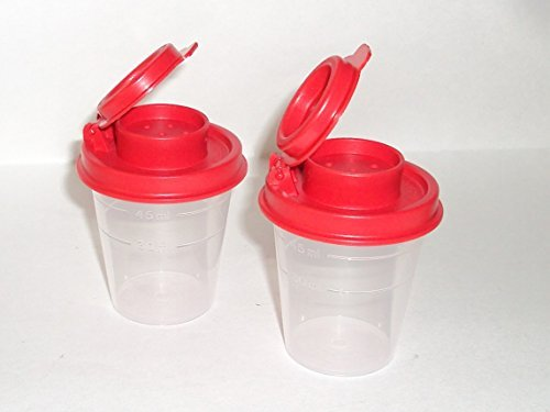 (Tupperware Salt and Pepper Shakers Mini Set Clear with Red Seals)