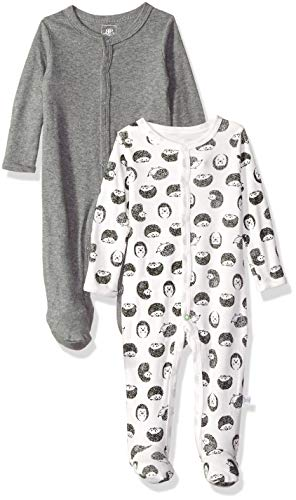 Rosie Pope Kids' Toddler Baby Boys' 2 Pack Coveralls, Grey Hedgehogs, 6-9 Months -