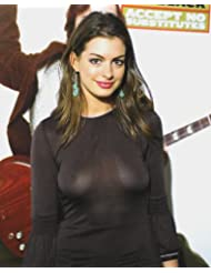 Anne Hathaway Busty in See Thru Dress 11x14 HD Aluminum Wall Art