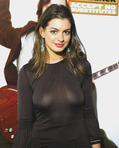 Anne Hathaway Busty in See Thru Dress 8×10 HD Aluminum Wall Art