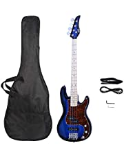 $119 » Waful Electric Bass Guitar, Starters Acoustic Bass Guitar Beginner Kit Full Size 4 String Alnico Pick Up Basswood Body with Guitar Bag, Straps,Line, Wrench for Starter Gift Right Hand Black Turn Blue