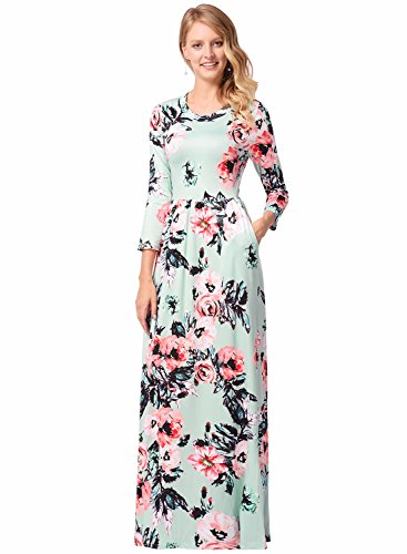 Maxi Dress Silk Floral (Women's Long Sleeve Evening Party Long Floral Silk Pleated Vintage Maxi Dress Green S)