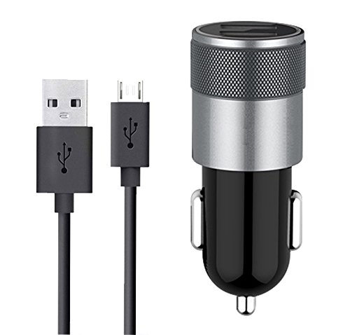 Price comparison product image Car Charger for Galaxy J3 Emerge Eclipse, Fire Tablets Kindle eReaders, Compatible Samsung Galaxy J3 Series (Eclipse, J3 V, Emerge, Luna Pro, Mission) Dual USB Ports Auto Charger USB Cable Data Sync
