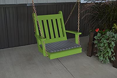 2 Ft Yellow Pine Outdoor Traditional English Chair Swing Amish Made USA-Lime Green