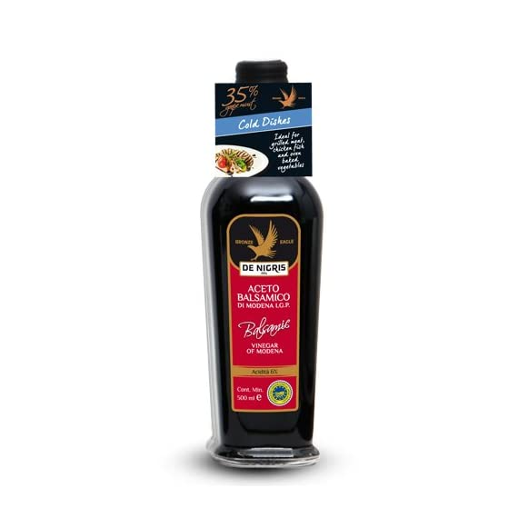 De Nigris Balsamic Vinegar Of Modena 1 6 - 16.9 oz bottles of De Nigris Balsamic Vinegar of Modena Bronze Eagle Velvety Intense and Balsamic Vinegar Creamy enrichment to give flavor to your kitchen, ideal for grilling meat, fish and vegetables in the oven