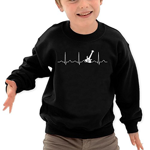 Puppylol Guitar Heartbeat Kids Classic Crew-Neck Pullover Sweatshirt Black 5-6 Toddler