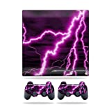 Mightyskins Protective Vinyl Skin Decal Cover for Sony Playstation 3 PS3 Slim skins + 2 Controller skins Sticker Purple Lightning