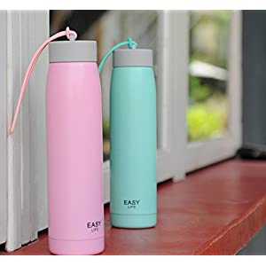 LANPA Stainless Steel Double Wall Vacuum Insulated Water Bottle Leak Proof Eco-Friendly & BPA Free - Perfect For A Christmas Gift,Home,Office ,Running Keep Hot Or Cold 24 Hours 12oz (Pink)