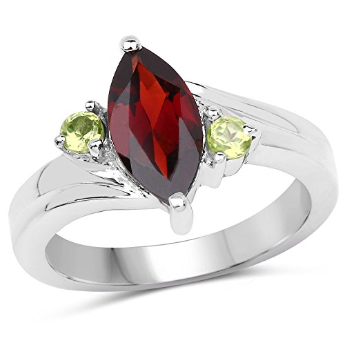 Bonyak Jewelry Genuine Marquise Garnet and Peridot Ring in Sterling Silver - Size 5.50