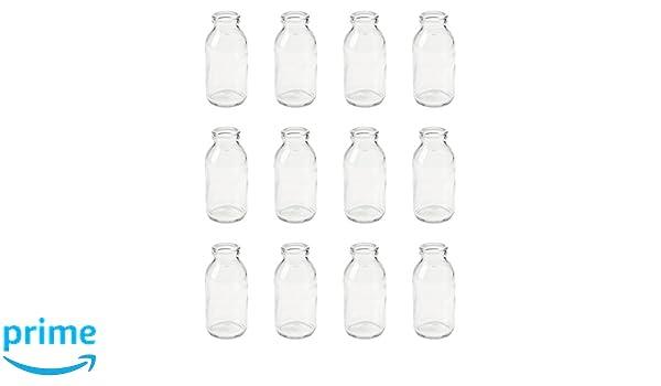 12 x jarrones botellas de cristal (10,5 cm vial de cristal rústico vintage botellas pequeñas de leche Deko botellas: Amazon.es: Hogar