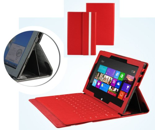 Navitech Ruby Red Bicast Leather Case Cover Sleeve Compatible with The Microsoft Surface Tab Windows RT & Windows 8