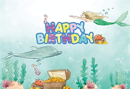 Leyiyi 6x4ft Kids Happy Birthday Backdrop Cartoon Mermaid Dolphane Magic Tale Pirate Treasure Wealth Seaweed Watercolor Banner Photo Background 1st B Day Baby Shower Portrait Shoot Vinyl Studio Prop ()