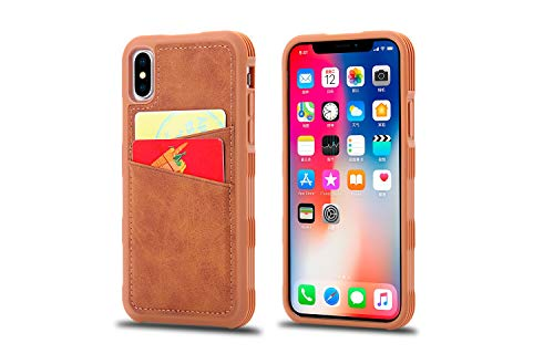 XHD-screen protector Card Slot Back Cover for iPhone X Pc and TPU Imitation Leather Non-Slip Case (Color : Brown) (Xhd Card)