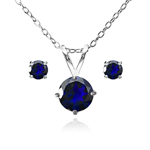Round Sapphire Solitaire (Sterling Silver Simulated Blue Sapphire Round Solitaire Necklace and Stud Earrings Set)