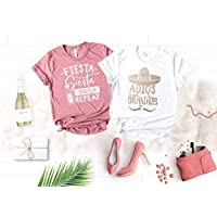 Fiesta Bachelorette Party Shirts, Funny Cinco de Mayo Shirts for Bride and Bridesmaids, Mexico Cruise Soft and Unique Color Shirts with Rose Gold Graphic, Adios Bitchachos