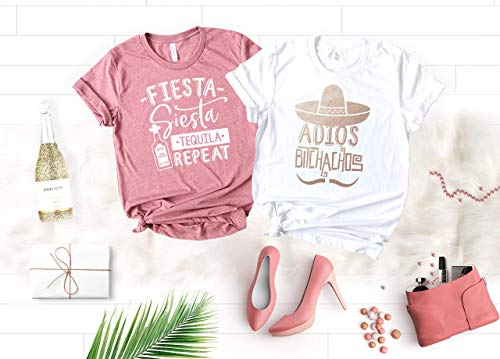 Fiesta Bachelorette Party Shirts, Funny Cinco de Mayo Shirts for Bride and Bridesmaids, Mexico Cruise Soft and Unique Color Shirts with Rose Gold Graphic, Adios -