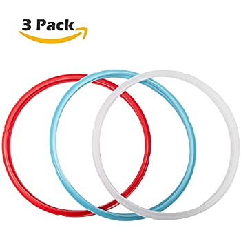 Silicone Sealing Ring, 3 Pack, Savory Sky Blue & Sweet Cherry Red & Common Transparent White, Fit for 5qt / 6qt