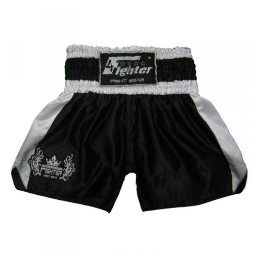 4Fighter Muay Thai Shorts Classic schwarz-weiss mit 4Fighter Tribal Logo am Bein