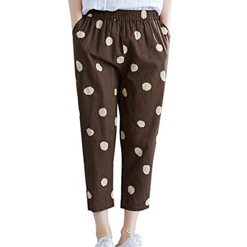 LENXH Women Cotton and Linen Print Trousers Elastic Band Fashion Leisure Casual Summer Loose Comfy Pant Brown