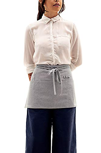 MEEMA Waist Apron with Pockets | Blue Eco Friendly Upcycled Cotton and Denim Apron | Zero Waste Waitress Apron, Server Aprons | Half Apron for Crafts, Restaurant, Shop Work Apron, Art Smock, Garden