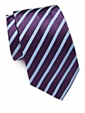 Ike Behar Men's Silk Textured Stripe Tie, OS (Purple)