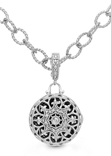 (With You Lockets Sterling Silver Diamond Round Locket Filigree Bracelet/Anklet The Beatrice)