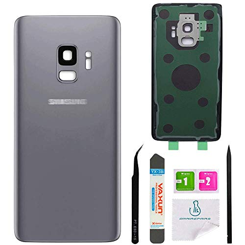OmniRepairs Rear Back Battery Door Cover Replacement Compatible for Samsung Galaxy S9 G960 (All Models) with Adhesive and Repair Toolkit (S9 Titanium Gray)