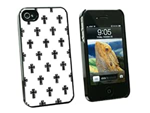 Graphics and More Crosses on Parade Christian Black White - Snap On Hard Protective Case for Apple iPhone 4 4S - Black - Carrying Case - Non-Retail Packaging - Black