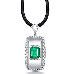 Men's White Gold Diamond Emerald Pendant