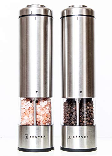 BREVER Premium Electric Salt & Pepper Grinder Set | Pack Of 2 Mills With free Mill Rest | Adjustable Coarse | LED Spotlight | Battery Operated