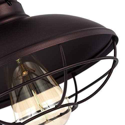 Pauwer Industrial Metal Cage Ceiling Light Semi Flush