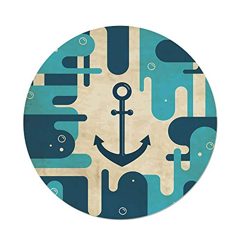 - iPrint Polyester Round Tablecloth,Anchor,Nautical Sea Inspired Abstract Design Bubble Like Shapes Retro Decorative,Cream Pale Blue Dark Blue,Dining Room Kitchen Picnic Table Cloth Cover Outdoor Ind