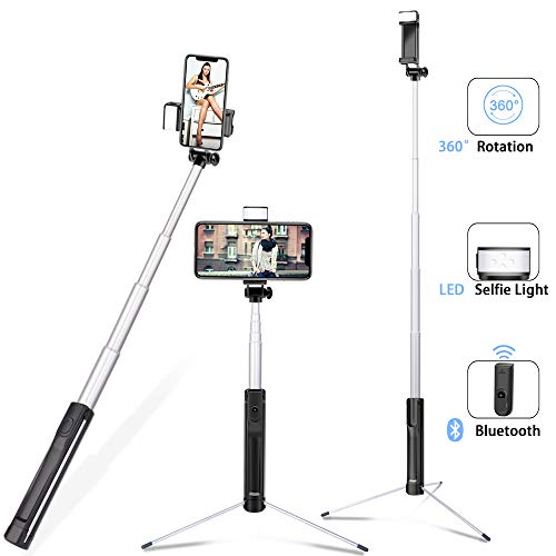 Selfie Stick with Light, 3 in 1 Lightweight Aluminum Alloy Extendable Selfy Sticks Tripod with Wireless Remote Shutter,Compatible with iPhone Xs max XR X 8 7 6s Plus,Galaxy S10 9 8 and More(Upgrade) ()