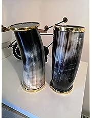 RYNASS Set of 2 Viking Drinking Horn Cups, Viking Horn Mugs Cups Set, LARP, Wedding Gifts, Bridesmaids Gifts