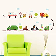 BIBITIME Traffic Lights Road Wall Decals Panda Ambulance Monkey Stop Sign Rabbit Electric Animal Vehicle Zebra Truck OX Motorcycle Police Car Vinyl Sticker for Kids Room Nursery DIY