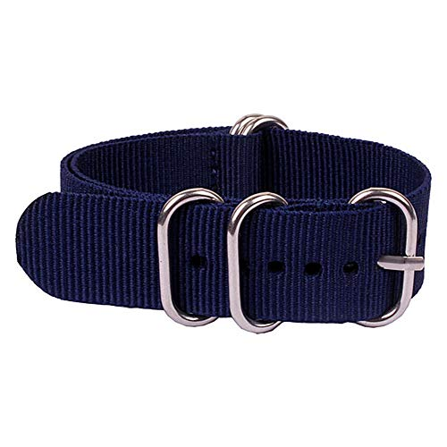16mm Interchangeable Womens Replacement Watchband Navy Blue Fabric Watch Strap G10 Nylon Wristbands Webbing Watch Bands