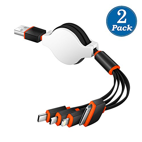 KINGBACK Multi USB Cable 2 Pack Retracrable 4 in 1 Multifunctional USB Cable Adapter Connector with Type C/Micro USB Port for Cell Phones Tablets and More