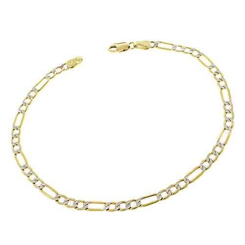 10k Yellow Gold 3.5mm Hollow Figaro Link Diamond Cut Two-Tone Pave Bracelet Chain 8