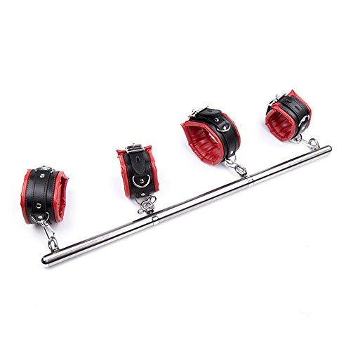 Detachable Stainless Steel Metal Adjustable Open Legs & Arms Double Spreader Bar Bondage Restraint Soft Sponge Hand cuffs Kit (Red)