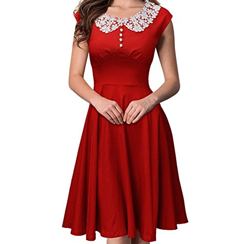 MS LOVE Women's Vintage 1940's Rockabilly Party Dress Red L by MS LOVE