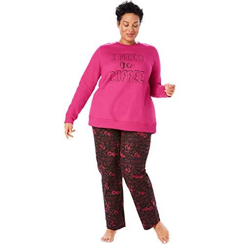 Dreams & Co. Women's Plus Size Fleece Sweatshirt & Pant Pajama Set - Raspberry Sorbet Coffee, 22/24