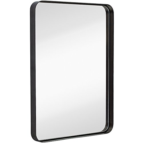 Contemporary Brushed Metal Wall Mirror | Glass Panel Black Framed Rounded Corner Deep Set Design | Mirrored Rectangle Hangs Horizontal or Vertical (22'' x 30'') by Hamilton Hills