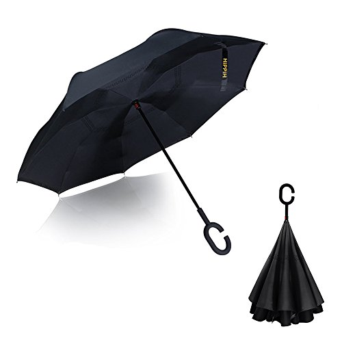 Double Layer Wind Proof, Hippih UV Proof Reverse Folding Inverted Umbrella Travel Umbrella with C Shape Handle and Carrying - Golf The Return Warehouse Policy