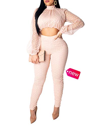 (Womens Multiple Colors dot Mesh Panel Lantern Sleeve Button Turtleneck top Lace See Through Pants Bodycon Pants Suit Party Club Sexy Lady 2 Piece Outfits Pink XL)