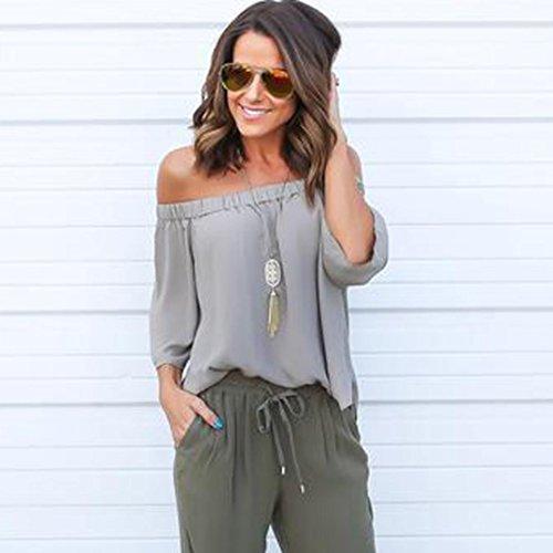 Ouneed Mujeres de moda de color sólido hombro Tops camisa de manga larga blusa casual Gris