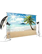 Backdrop for Summer Pictures Palm Tree Themed Photography Background for Children Birthday Party Photobooth Event Table Decoration Props Sunshine and Beach FT-5750