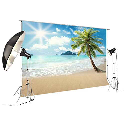 Backdrop For Summer Pictures Palm Tree Themed Photography Background For Children Birthday Party Photobooth Event Table Decoration Props Sunshine And Beach FT-5750 -